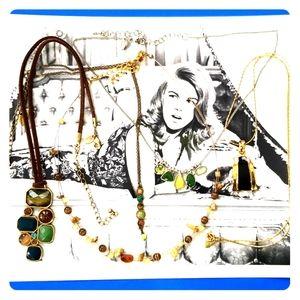 5 Lia Sophia necklaces Goldtone Silvertone Variety